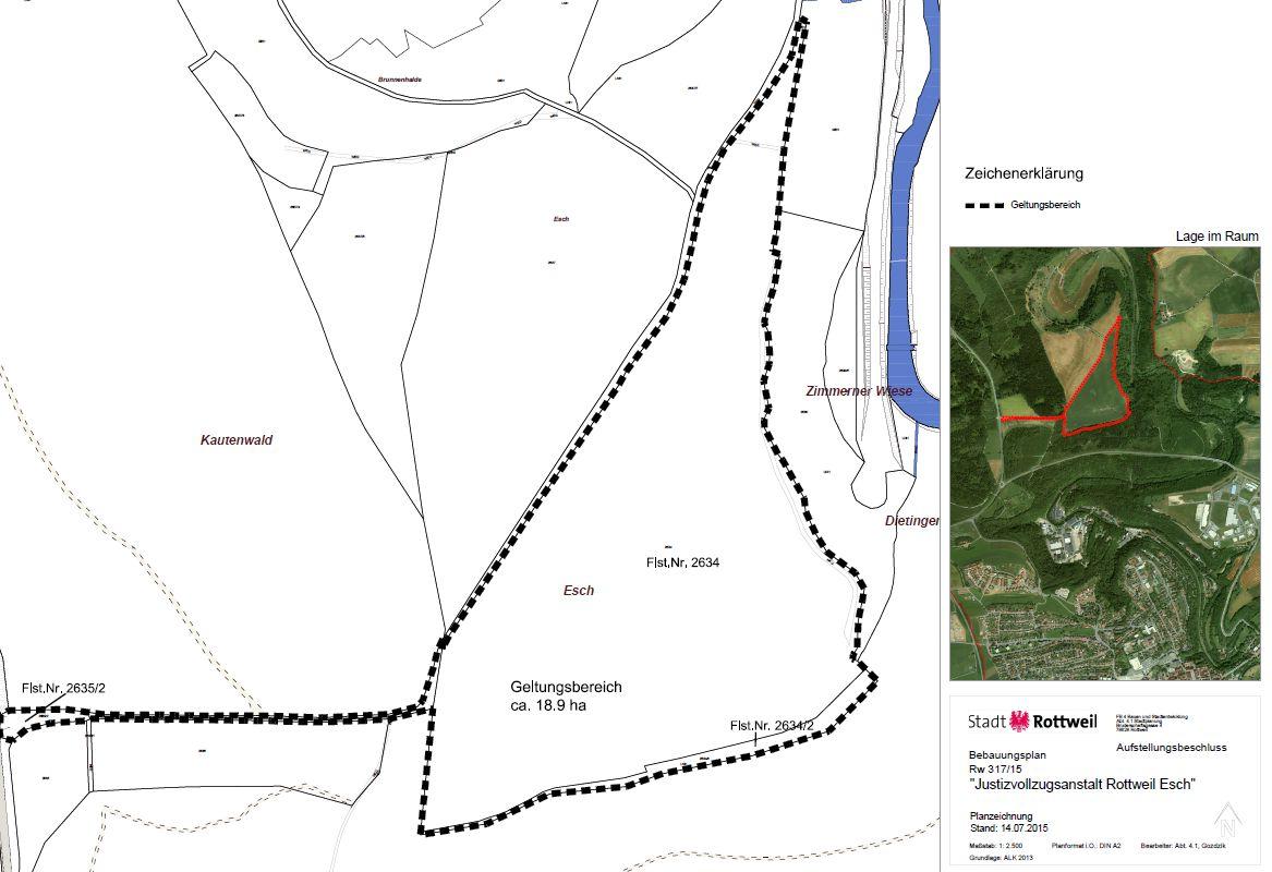 Plangebiet Aufstellungsbeschluss JVA im Esch