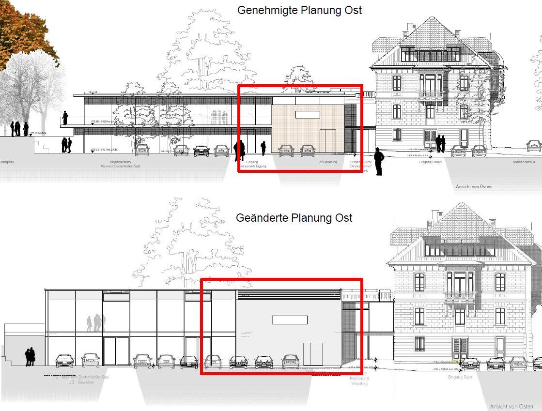 Villa Duttenhofer: Planänderungen von Osten