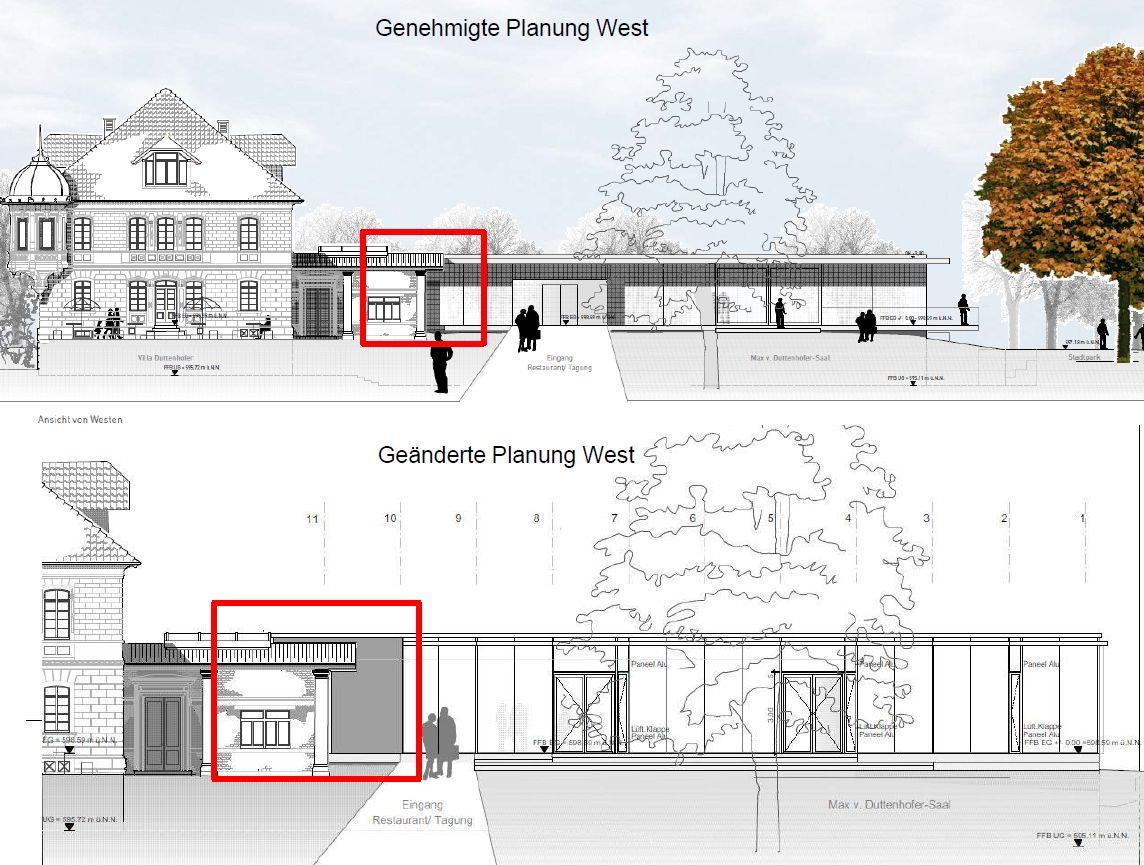 Villa Duttenhofer: Planänderungen von Westen