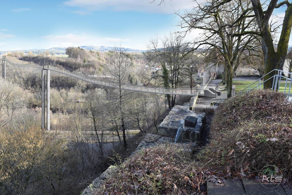 Visualisierung Fußgänger-Hängebrücke: Blick vom Dominikanermuseum Richtung Pulverturm