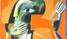 Horst Antes, Figur auf roter Fläche, 1965-66 aus der Kunstsammlung der Oberschwäbischen Elektrizitätswerke