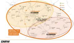 Der neue Unternehmensstandort der ENRW im Gewerbegebiet Rottweil-Neufra liegt im Mittelpunkt des Versorgungsgebietes (Grafik: ENRW).