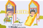 Stadt und Landesregierung weisen mit Plakaten auf die neuen Regeln auf den Spielplätzen hin (Grafik: Städtetag Baden-Württemberg).