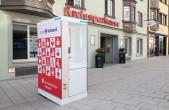 """Drei """"Seifenkisten"""" von hansgrohe wurden in der Innenstadt zum Infektionsschutz aufgebaut. Unterstützt wird die Aktion von der Kreissparkasse Rottweil, der Volksbank Rottweil und Culinara (Foto: hansgrohe)."""