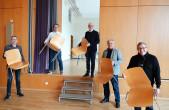 Die Stadtkapelle zieht in die ehemaligen Räume des Edith-Stein-Instituts ein (von links): Dirigent Johannes Nikol, Vorsitzender Ralf Stölzl, OB Ralf Broß, Stadtbau-Leiter Peter Hauser und Kulturamtsleiter Marco Schaffert.