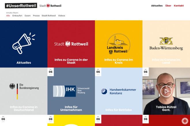 Mit dem neuen Webportal www.unserrottweil.de möchte die Stadtverwaltung den Zusammenhalt der Menschen in der Corona-Krise fördern, über aktuelle Entwicklungen informieren, Hilfsangebote vernetzen und Mut machen. (Screenshot: Hak Design).