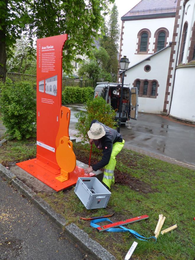 Römerpfad Rottweil-Altstadt: Montage hat begonnen