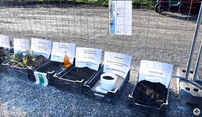 Ausgangsmaterialien der Terra Preta-Mischung (unter anderem Laub, Grünschnitt, Mikroorganismen und zertifizierte Pflanzenkohle, Foto: Stadt Rottweil).