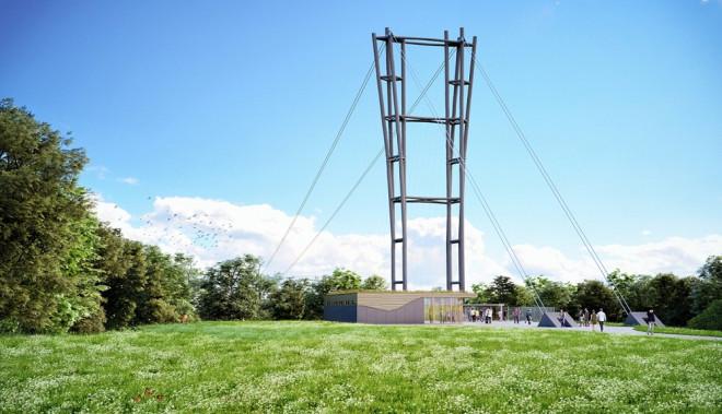 Ansicht Hängebrücke Pylon 2021